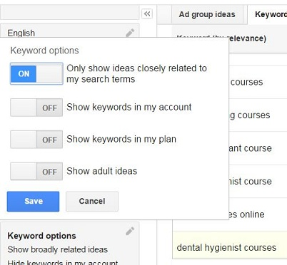 Choosing relevant keyword using Google Keyword Planner